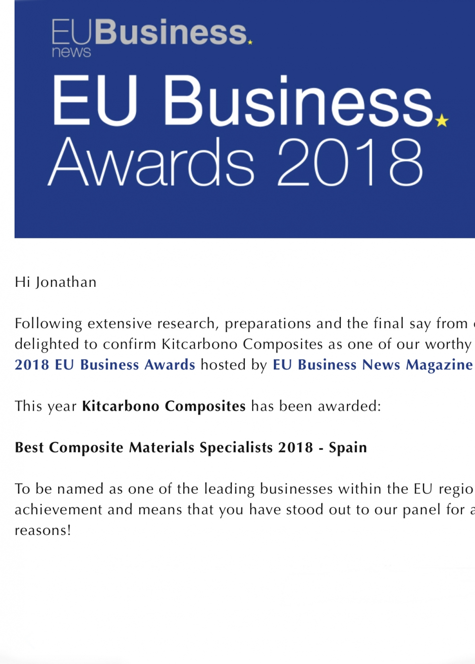Premio Eu bussines News